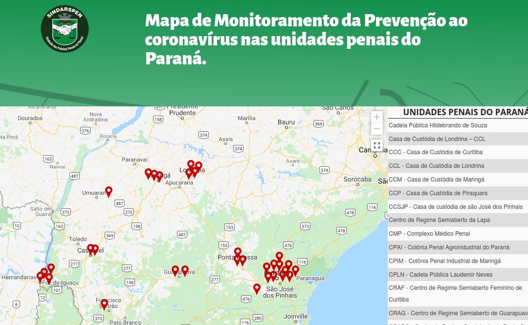 O Mapa de Monitoramento de Prevenção ao coronavírus nas unidades penais do Paraná